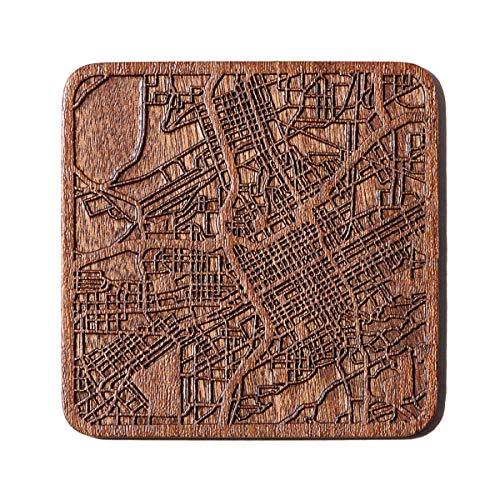 Birmingham, Al Map Untersetzer von O3 Design Studio, 1 Stück, Sapeli-Holz-Untersetzer mit Stadtkarte, mehrere Stadt optional, handgefertigt
