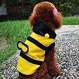 Süße Biene Design Hund Polar Fleece Stoff Kleidung Katze Kleidung Welpe Hoodie Plüsch warmen Wintermantel Kleidung Kostüm Accessoire für Hunde Haustiere mit Hut Grösse L -