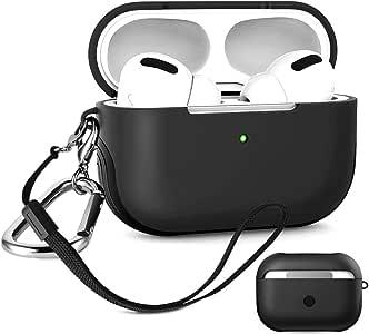 Coque AirPods Pro - Absorbant les chocs - Anti-chocs - Pour Apple - Avec porte-clés et dragonne - Coque intérieure - rigide extérieure - 2 couches - [2020 mise à jour] noir