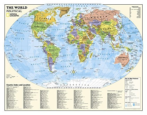 National Geographic - Laminated Kids Political World Education Map (Grades 4-12) Giant Poster by National Geographic 51 x 40in by National Geographic Maps -
