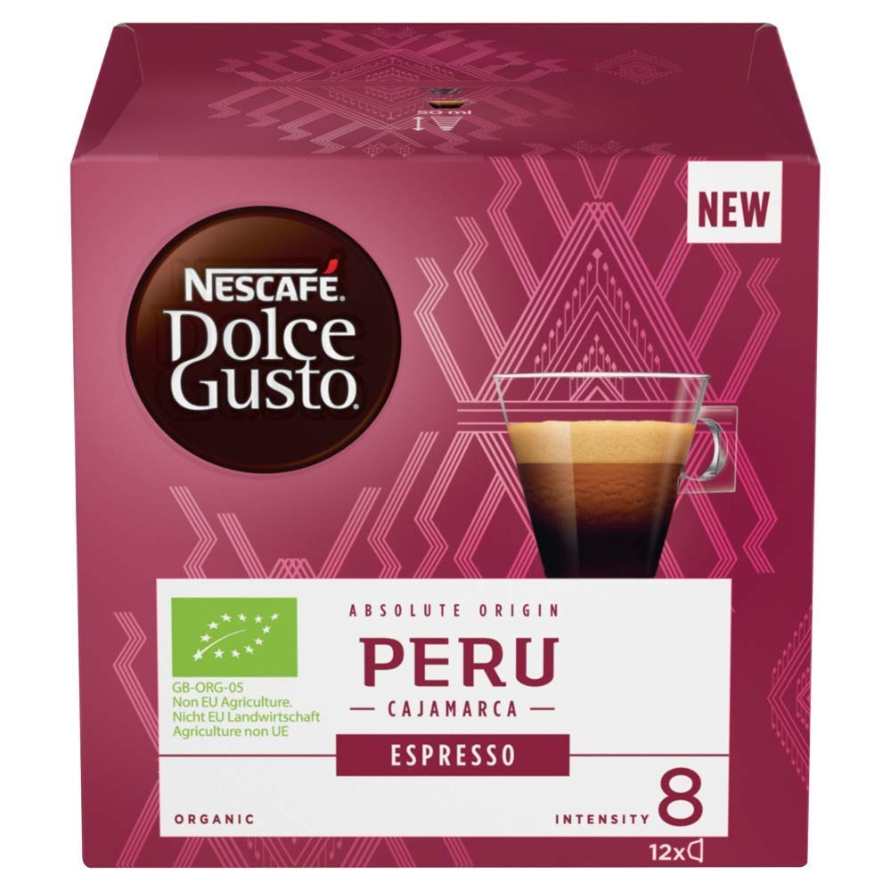 Nescafé Dolce Gusto Espresso coffee pods and capsules (a blackcurrant sweetness, liqourice, pink pepper, woody notes coffee with aromas of caramel and roasted, fresh fruit and petals, spices and tobacco)