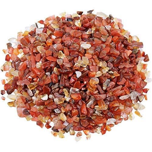 mookaitedecor Dekosteinen, Stein Poliert Kieselsteine Kristallen Dekoration für Haus Garten-Set, 460g Cornaline Multicolore(2x3mm-5x10mm)
