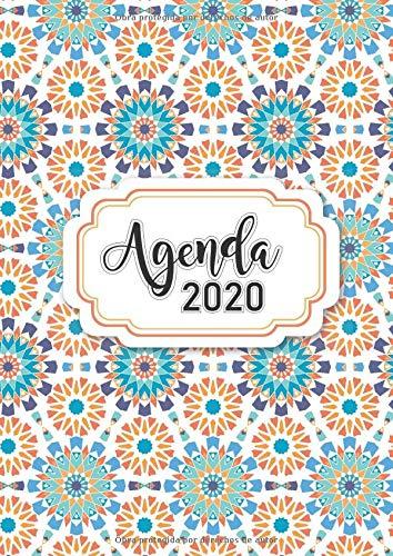 Agenda 2020: Tema Mandalas Agenda Mensual y Semanal + Organizador Diario I Planificador Semana Vista A4 Color Naranja y Aqua