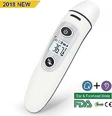 Fieberthermometer für Ohr, Telgoner Ohrthermometer Stirnthermometer Baby Fieber Thermometer Professional Digital Infrarot Fieberthermometer für Kinder Erwachsenen Objekt, CE/FDA Zertifiziert