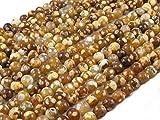 Beads Ok, DIY, Fuego Ágata con Puntos, Amarillo-Marrón, Genuino, Natural, 6mm,...