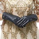 Nappaglo Damen klassische Lederhandschuhe Touchscreen Italienisches Lammfell Winter Warm Reines Kaschmir-Futter Handschuhe (M (Umfang der Handfläche:17.8-19.0cm), Dunkelmarineblau(Touchscreen))