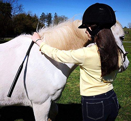 Pferd Peitsche für Race Übung Wettbewerb Show Jumping Zweispänner Gepolsterte Jockey Reiten Stick Crop-68,6cm/68cms Länge Equestrian schwarz/blau echt Leder -