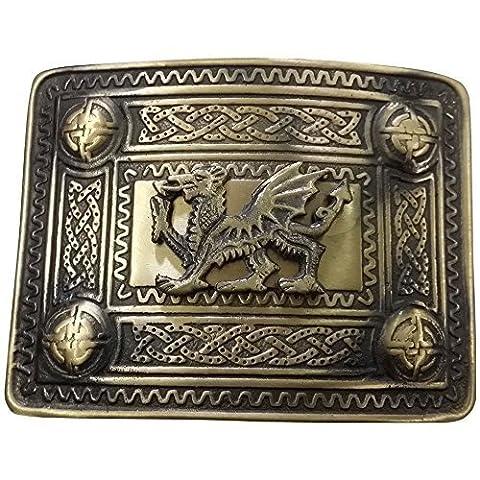 Tartan City Scottish Kilt Belt Buckle Welsh Dragon Antique Finish/Celtic Kilt Belt Buckle 4 Dome Mirror
