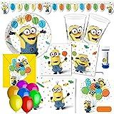 Minions Ballons Partyset 75-tlg. für 6-8 Kinder zum Kindergeburtstag Geburtstag Partydeko Mottoparty