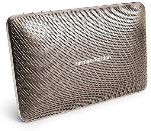 Harman/Kardon Esquire 2 Slimline Tragbares Aufladbares Bluetooth Wireless Lautsprechersystem mit Integrierter 360 Grad Freisprecheinrichtung, Echo- und Geräuschunterdrückung - Gold (Bluetooth-lautsprecher Harman Kardon)