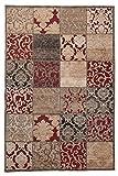 Tapiso Bohemian Teppich Kurzflor Vintage Floral Ornament Mosaik Muster Braun Rot Designer Wohnzimmer Schlafzimmer ÖKOTEX 80 x 150 cm