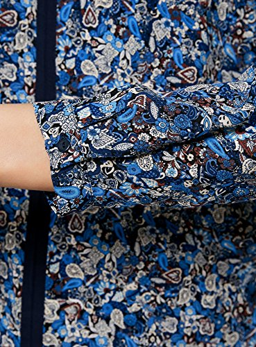 oodji Ultra Donna Camicetta Stampata con Finiture a Contrasto Blu (7937F)