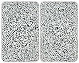 Wenko 2521120500 Herdabdeckplatte Universal Granit 2-er Set für alle Herdarten, Glas, mehrfarbig