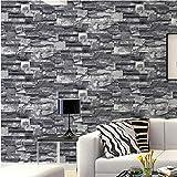 Revestimientos de pared de papel de pared con efecto de piedra artificial con efecto de piedra de imitación de ladrillo gris gris