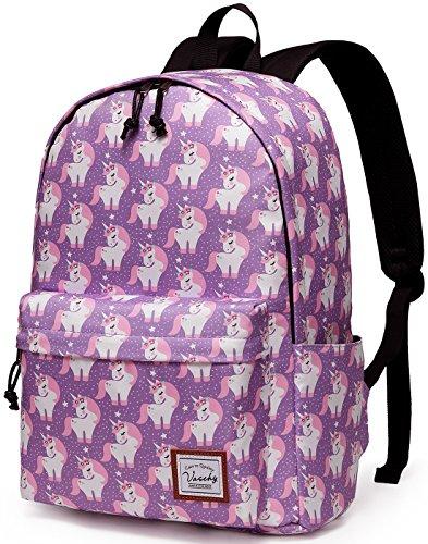 VASCHY Zaino Donna, Zaino Ragazza Porta PC 14 Pollici Zaino Scuola Classico Zaino Bambina Impermeabile Zaino da Viaggio Leggero Unicorno