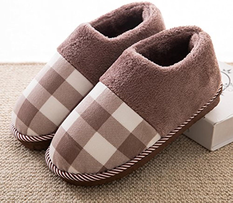 YMFIE Damas, caballeros de invierno las parejas interiores cálidos antideslizante SHOES zapatillas de algodón,  -