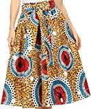 Sakkas 16321 - Celine African Dutch Ankara Wax Print Full Circle Skirt - 1114-WhiteMulti - OS