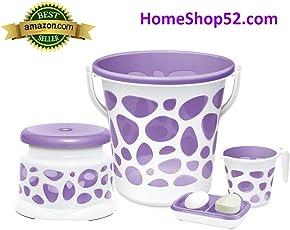 Milton Bath Duplex Set Bucket with Mug || Stool & Soap Dish (Purple) || 4 pcs Bathroom Set