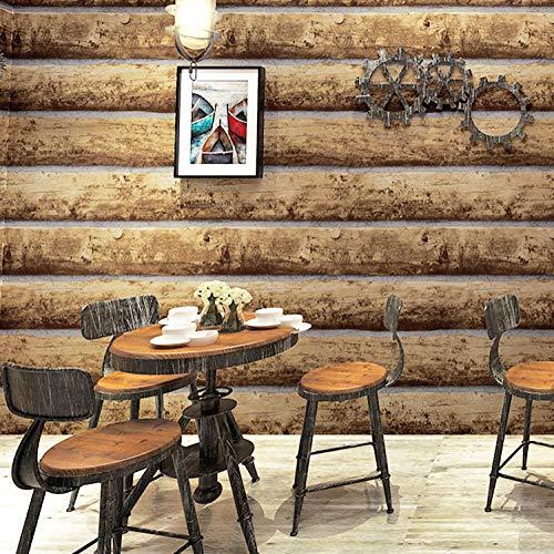 DUOCK Log Holz Holzmaserung Holz Rinde Furnier Tapete Bar Cafe Retro nostalgischen Stil Veranstaltungsort Tapete @ No. Nur 1 color_Wallpaper -