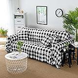 DW&HX Karierte sofabezug,1,2,3,4 sitze Perfekt für kinder und haustiere Anti-rutsch Einfachen und modernen Sofa protector-Schwarz 190x260cm(75x102inch)