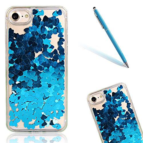 Back Cover per Apple iPhone 7 4.7, CLTPY Marvel Cute Gelato Modello Serie Case con Scintillio Scintilla Paillettes Clear Crystal Protettiva Scintillante Copertura di Morbido Gomma Protezione per iPho Blue