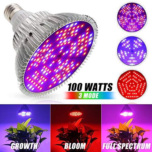 Xingruyu LED Pflanzenlampe 100W Vollspektrum 3 Modus Pflanzenlicht E27 LED Wachstumslampe 150Leds Pflanzenleuchte für Zimmerpflanzen, Garten Gewächshaus, Blumen und Gemüse -