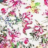 Pepelinchen Baumwoll-Satin-Print: Blumen auf weiß II.