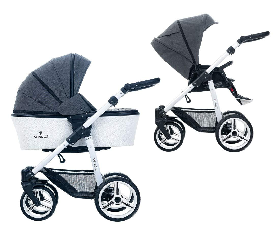 Venicci Pure 2-in-1 Travel System - Denim Black - with Carrycot + Changing Bag + Apron + Raincover + Mosquito Net + 5-Point Harness and UV 50+ Fabric + Cup Holder Venicci 2-in-1 Pram and Pushchair with custom travel options Suitable for your baby from birth until approximately 36 months 5-point harness to enhance the safety of your child 1