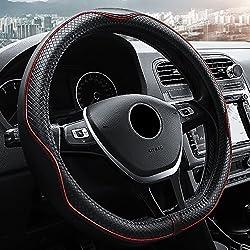 D-typ Universal Auto Lenkradhülle Lenkrad Abdeckung Lenkradbezug Aus Echtes Leder 38cm 15'' Anti Rutsch Lenkradabdeckung Lenkradschoner - Schwarz & Rot