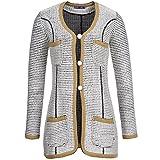 Langarm Strickjacke mit Taschen und Glitter Webfäden, Weiß/Gold/Schwarz, 36