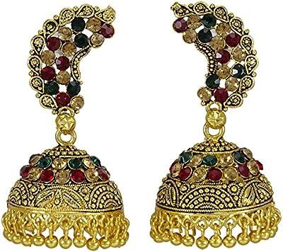 Banithani étnicos dorado tradicional indio Dangle JewelryKundan pendiente conjunto joyería