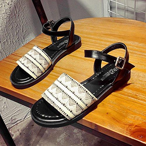 Rugai-eu Étudiants Femmes Simples Sandales Plates Anti-dérapant Chaussures Pour Brown Chaussures