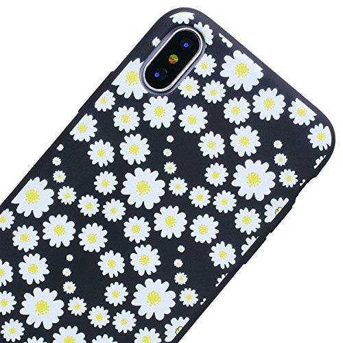Cover iPhone X, SMART LEGEND Custodia iPhone X Case TPU Silicone Semi Frosted Opaca Trasparente Ultra Slim Gomma Morbido Gel Bumper, Soft Caso Flessibile Protettiva Antiurto Shock Cover - Crisantemo 1 Crisantemo 2