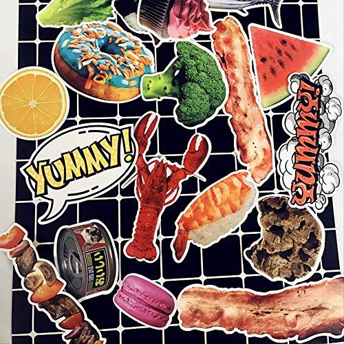 hongliu Gourmet Pattern Sticker Pack Wasserdichter Taschenaufkleber Laptop Gepäck Fahrradaufkleber 25St Gourmet-becher
