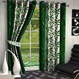 #6: Galaxy Home Decor Abstract Eyelet Polyester Door Curtains for Door 7 Feet, Set of 2, Green