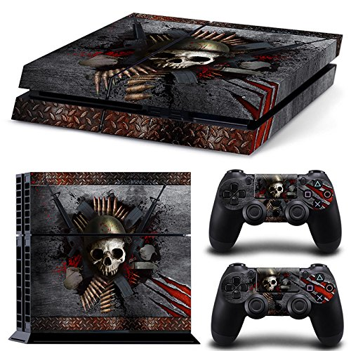 46 North Design PS4 Vinyl Decal Autocollant Skin Sticker Skull Pour Playstation 4 console + 2 Dualshock Manette Set Autocollant