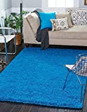 A2Z Rug (140x200 cm (4ft7 x 6ft7) Teal) Cozy Shag Collection Solid 5.5 cm Pile Shag Rug Contemporary Living & Bedroom Soft Shaggy Area Rug, Carpet