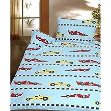 Ropa de cama infantil de franela 2piezas con coche de carreras 100x 135cm 100% algodón para cama infantil azul Fórmula 1