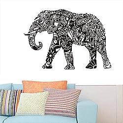 gossipboy DIY Pared Vinilo Adhesivo Negro-Mandala patrón de diseño Elefante de la India (83cm x 57cm)-Inspirado Pared Arte Decal Mural de Animales para salón decoración del hogar
