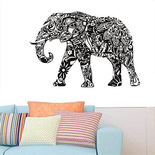 gossipboy DIY pared vinilo adhesivo negro–Mandala patrón de diseño elefante de la India (83cm x 57cm)–inspirado Pared Arte Decal Mural de animales para salón decoración del hogar