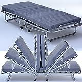 Gäste-Bett Comfort mit Matratze klappbar 80 x 200 cm Klapp-Bett mit stabilem Metall-Rahmen Gäste-Liege mit Rollen
