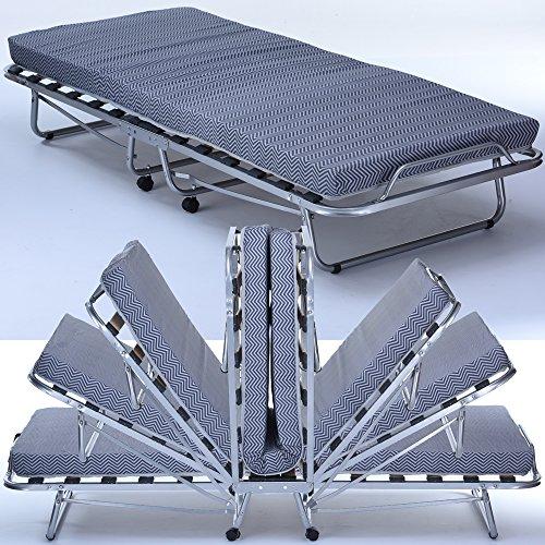 PROHEIM Gästebett Comfort mit Matratze Lattenrost und Rollen klappbar 80 x 200 cm Klappbett mit stabilem Metall-Rahmen Gästeliege -