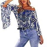 CLOOM Elegantes Top für Frauen reizvolle weg von der Schulter-Aufflackern-Hülsen-Druck-Bluse übersteigt buntes Kleidungs-T-Shirt Sexy trägerloses Bluse Bohemian Printed Trompete Ärmel oben (S, blau)