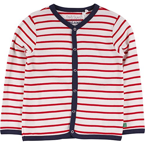 Fred's World by Green Cotton Jungen Strickjacke Stripe Cardigan, Elfenbein (Cream/Red 019800001), 110 (Stripe Herren Cotton)