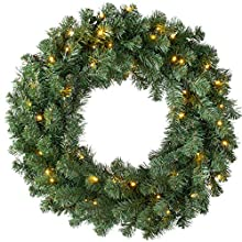 WeRChristmas Pre-Lit Plain Wreath with 50 LED Lights & Timer Function, Multi-Colour, 2.5 feet/75cm