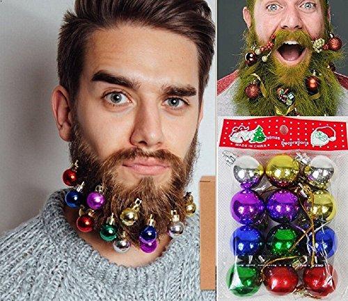 ILOVEDIY 12Stück Clip On Christmas Beard Baubles Weihnachtsmann Bart Deko (3cm-12Stück)