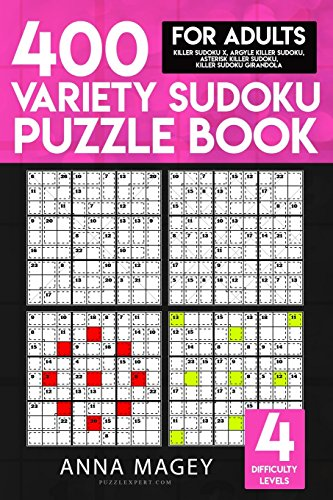 Price comparison product image 400 Variety Sudoku Puzzle Books for Adults: Killer Sudoku X,  Argyle Killer Sudoku,  Asterisk Killer Sudoku,  Killer Sudoku Girandola: Volume 5 (Variety Sudoku Books)