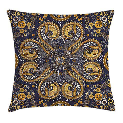 Indian Throw Pillow Cushion Cover by, Ethnic Pattern Indian Style of Flower Ornaments Decorative Design Print, Decorative Square Accent Pillow Case, 18 X18 Inches, Mustard Amber Navy Blue - Amber Kings Crown