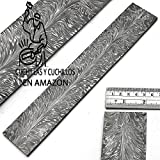 MNAP-8706 modello in piuma 30 cm x 5 cm x 5 mm billetta / barra in acciaio damasco lavorato a mano  per la produzione di coltelli  creazione di gioielli  | posate  e altri scopi