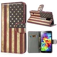 Handytasche Etui Flip Business Case Cover Samsung Galaxy S5 / GT-I9600 Ständer STAND BOOK USA Flagge Fahne Amerika